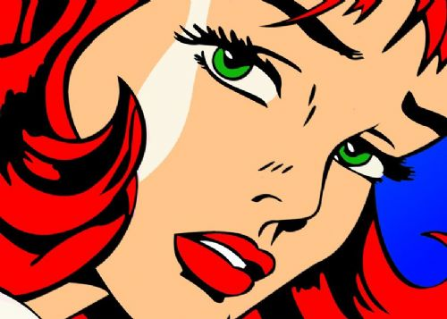 ART - POP ART - RED HAIRED GIRL canvas print - self adhesive poster - photo print